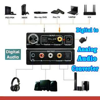 Digital(Optical+Coaxial) Analog(Audio+Optical Coaxial) Audio Converter(Black)
