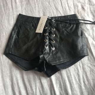 Princess Polly black lace up leather shorts