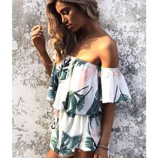 White floral off the shoulder playsuit