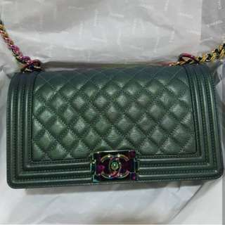 Authentic Chanel Boy Iridescent Green