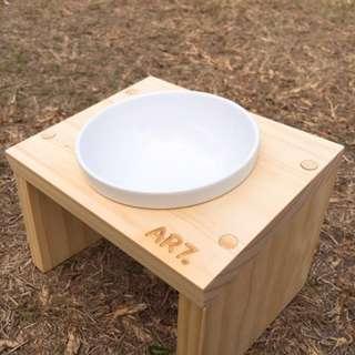 原木 貓狗通用 斜口碗架 附陶瓷碗