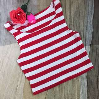Stripe Red White Christmas Crop Top