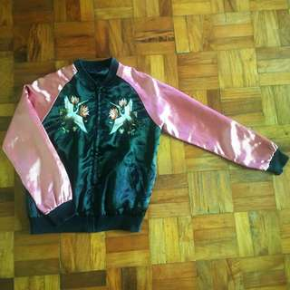 Pink & Black Satin Embroidered Jacket