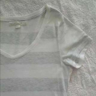 F21 Basic White and Grey Striped Top