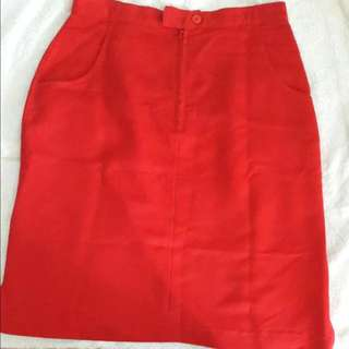 BN Red Curdoroy A Line Skirt with Pockets and Zip