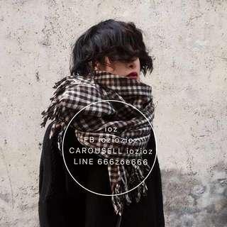 ioz 復古英倫經典格紋羊絨披肩圍巾