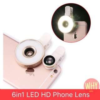 Selfie Ring 6in1 Phone Lens Kit LED Flash Light Fisheye FishEye Wide Angle Macro
