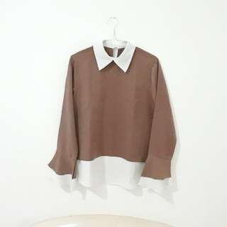 Brown Collar Top/ Blouse