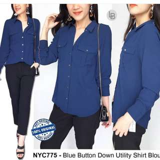 NYC Blue Button Down Utility Shirt Blouse