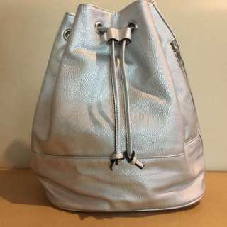BNWOT SILVER DRAWSTRING BACKPACK