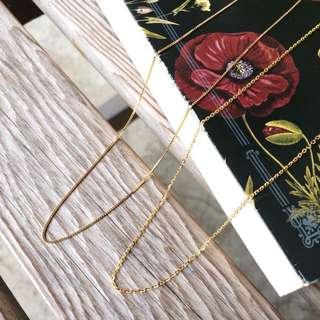 Skin&Moss 全新品預購商品鍍金鎖骨鏈極細項鍊盒子鍊O型鍊無墜飾