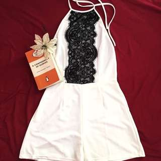 Reverse small white black lace playsuit