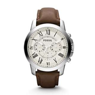 Fossil Grant Chronograph Leather Band Mens Watch Brown FS4735