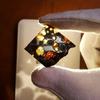 Brahin Pallasite Meteorite Shooting Star Polished Slice