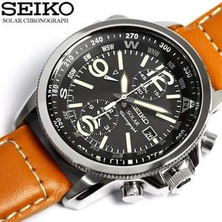 Seiko Solar SSC081P1 Gents Chronograph Brown Leather Strap Watch
