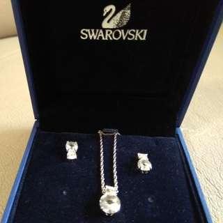 Swarovski 頸鏈 耳環 全新