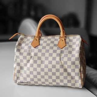 Authentic Louis Vuitton Damier Azur Speedy 30 LV