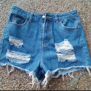 REPRICED!! Topshop Petite High Waisted Ripped Short