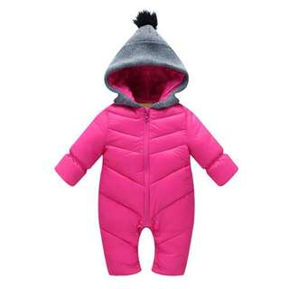 Baby winter cotton warm romper jumpsuit new born infant hooded coat