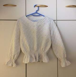 白色珠珠長袖衫