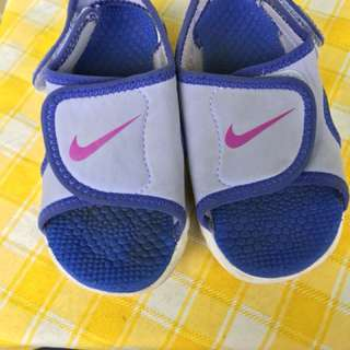 Nike sandals blue and purple combination