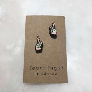 🚚 🐰手工木刻彩繪兔子耳針耳環