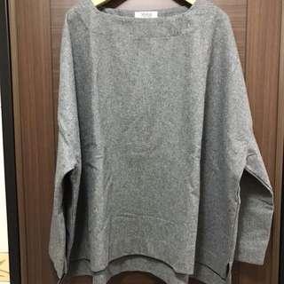 🚚 灰色毛料寬鬆感上衣
