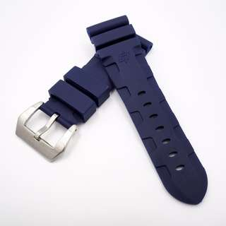 (268) 全新26mm 藍色橡膠代用膠帶配精鋼錶扣 合適 Panerai, Seiko, Bell & Ross 等等