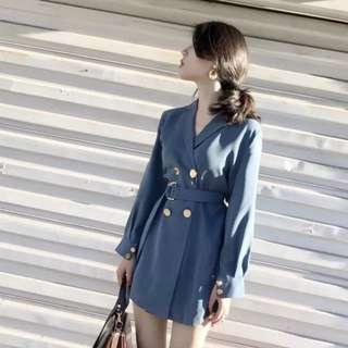 (含腰帶)歐洲時尚雙排扣襯衫高腰風衣連衣裙洋裝外套大衣