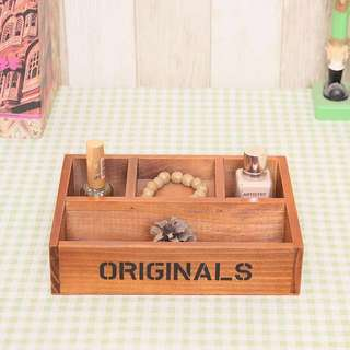 BN Vintage wooden box/storage/ 4 dividers tray/DIY craft design/home decoration/decor/Corporate gift/door gifts/souvenir