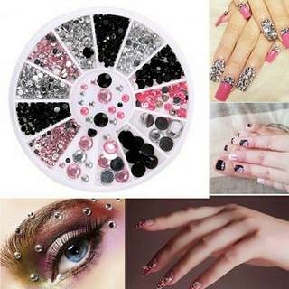 3D Nail Art Tips Gems 3 Colors Crystal Glitter Rhinestone DIY Decoration Wheel Manicure Decoration Mixed Shape Nail Art