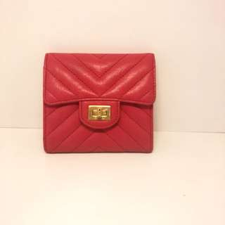 正品 90%新 Chanel 紅色V紋方扣短銀包
