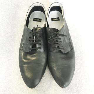 Black soft leather loafers