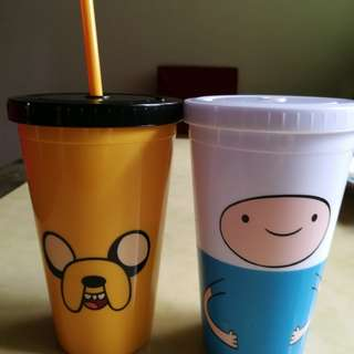 Fin and Jake tumbler cup and owl