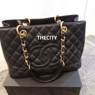 AUTHENTIC CHANEL GST TOTE IN BLACK CAVIAR LEATHER GHW