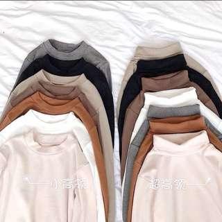 High/Round Neck Basic Plain Long Sleeve Sweater Top