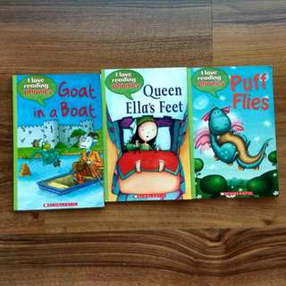 $2.90 Phonics Scholastic I Love Reading Phonics Goat In A Boat, Queen Ella's Feet, Puff flies 3for$8.70 (or$3.90each) Good Condition