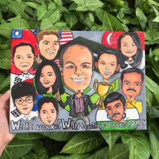 Hand Drawn Caricature on canvas or paper
