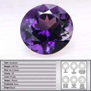 4.86 CT Natural Round Facet Amethyst