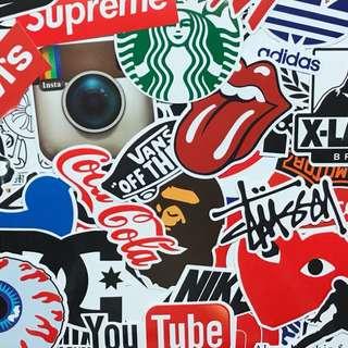 潮牌logo行李箱貼紙 歐美PVC亮面防水貼紙