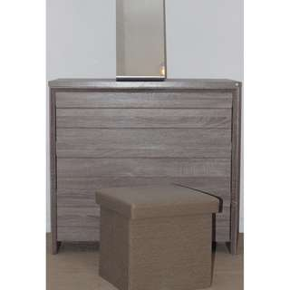 A simple set of  3-Drawers Dresser, Storage Ottoman and Mirror