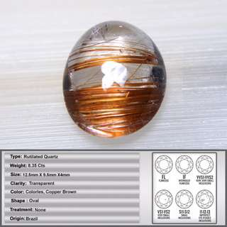 8.32 CT Natural Transparent Rutilated Quartz