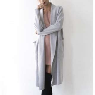 HELLO MOLLY GREY ON THE SIDE LONG CARDIGAN COAT