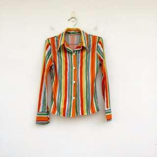 二手 彩色 線條 彈性 襯衫