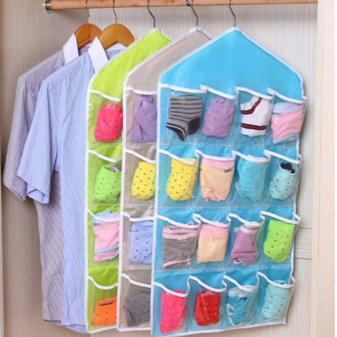 收納袋掛袋衣櫃透明16格衣櫥收納門後收納袋牆掛式 天藍色
