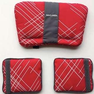 Brand NEW Maclaren Comfort Pack (Headrest & Shoulder Pads) in Argyle Engraved-Scarlet!