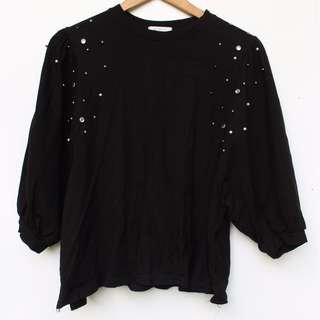 Beaded Black Sweater Top
