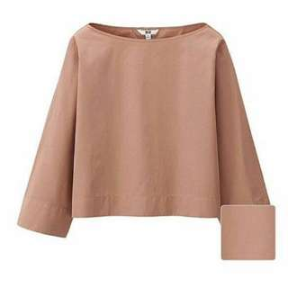 Uniqlo Batwing Crop Dusty Pink Top