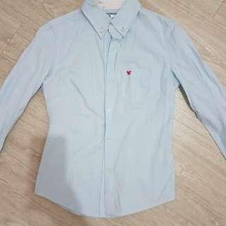 水藍色 休閒修身襯衫-M號