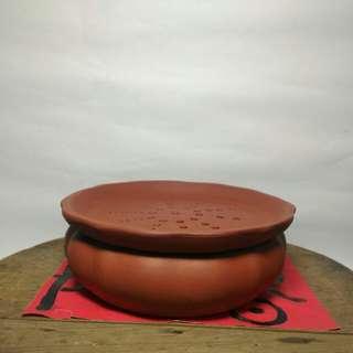 早期紫砂 紅土雙層茶盤